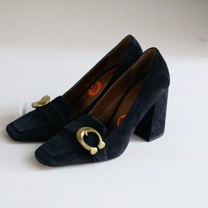 Coach Suede Block heel Large Buckle Accent Loafers